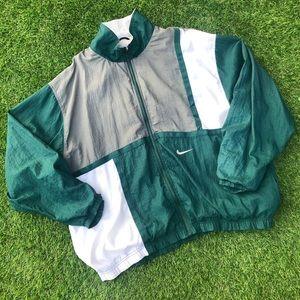 Vintage 90s Nike Air Zip Up Windbreaker Green Whit